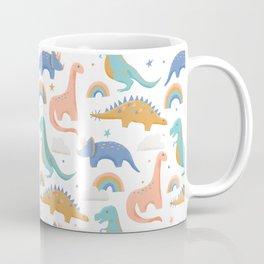 Dinosaurs + Rainbows in Blush Pink + Gold + Blue Coffee Mug