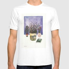 Potted Flowers II MEDIUM White Mens Fitted Tee