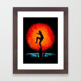 Minimalist Karate Kid Tribute Painting Framed Art Print