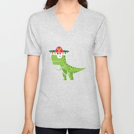 Cute T-Rex With Sombrero Cinco De Mayo Mexican Unisex V-Neck