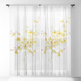 yellow Oncidium Orchid watercolor Sheer Curtain