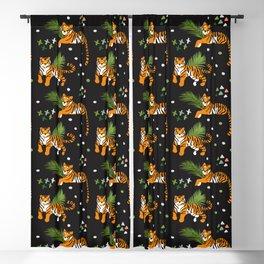 Tigers on Black Pattern Blackout Curtain