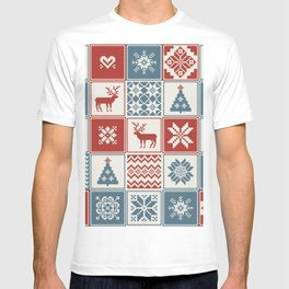 Christmas pattern in patchwork style. Traditional ornamental background.  T-shirt