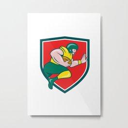 American Football Running Back Charging Crest Cartoon Metal Print