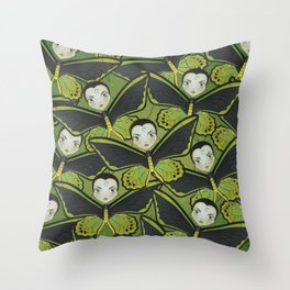 Green Birdwing Butterfly Throw Pillow