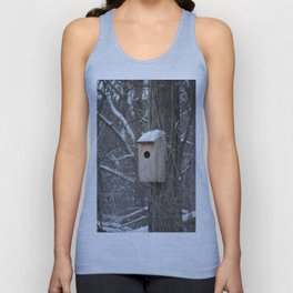 Bird House with Snow on the Roof Unisex Tank Top