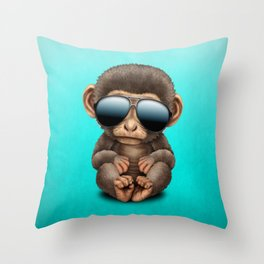 Cute Baby Monkey Wearing Sunglasses Throw Pillow
