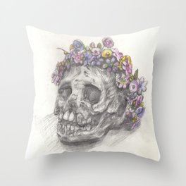 Skull With A Flower Crown - Drawing Throw Pillow