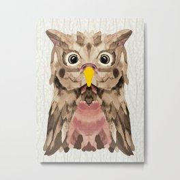 Whimsical Mocca Owl Metal Print