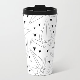Japanese Origami white paper cranes sketch, symbol of happiness, luck and longevity Travel Mug