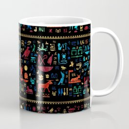 Ancient Egyptian hieroglyphs -Colorful Marble and Gold Coffee Mug