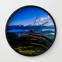 lake wanaka covered in blue colors new zealand beauties Wall Clock