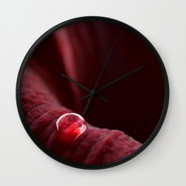 A Drop On A Red Flower Petal #decor #society6 #buyart Wall Clock