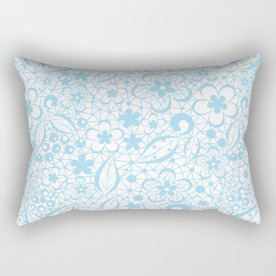 Blue , fishnet , lace Rectangular Pillow