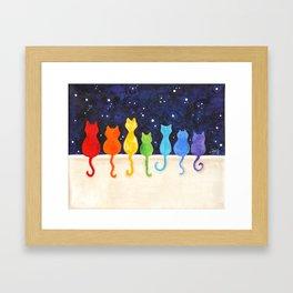 Catch A Rainbow - Cats at Night Framed Art Print