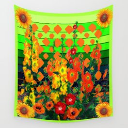 Modern Chartreuse -Orange Flowers Garden Pattern Design Wall Tapestry