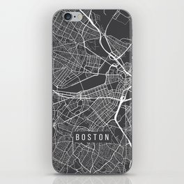 Boston Map, Massachusetts USA - Charcoal Portrait iPhone Skin