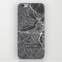 Boston Map, Massachusetts USA - Charcoal Portrait iPhone Skin