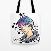 exo Tote Bags featuring [EXO] - Sehun Galaxy by sagwa