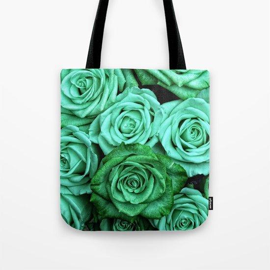 Sea Green Roses Tote Bag