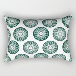 Dark Green Mandala Pattern Rectangular Pillow