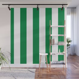 Classic Cabana Stripes in White + Kelly Green Wall Mural