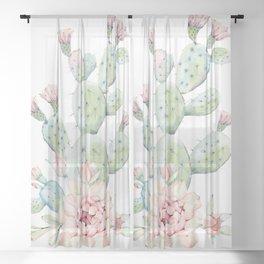 Cactus 3 White #society6 #buyart Sheer Curtain