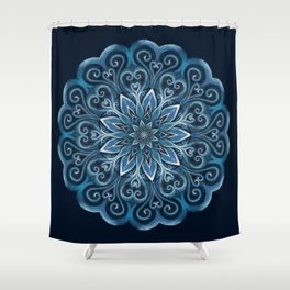Blue Water Mandala Swirl Shower Curtain