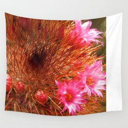Red Cactus in Bloom Wall Tapestry