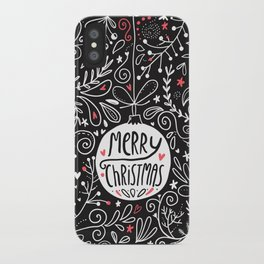 Merry Christmas doodles iPhone Case