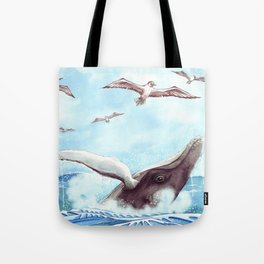 Humpback Whales Surface Tote Bag