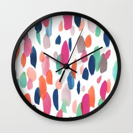 Watercolor Dashes Wall Clock