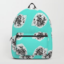 Teal Flower Pattern Backpack