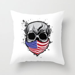 It's A Unique Design Of A Braincase Skull With An American Flag Scarf On T-shirt Design Gray Tones Throw Pillow