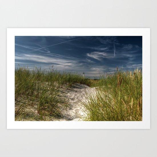 Light Tower and Dunes- Summer Beach Landscape #Society6 Art Print
