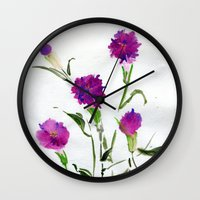 freud Wall Clocks featuring You Know What Freud Said About Carnations by Kate Havekost Fine Art