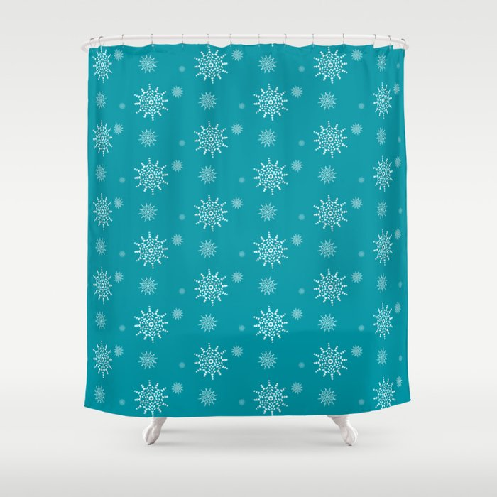 White Snowflakes on Turquoise Shower Curtain