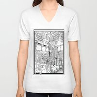 puppies V-neck T-shirts featuring Borzoi puppies by Agy Wilson