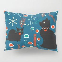 Black kitties in winter Pillow Sham