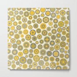 Millefiore Circles - color: Gold, Silver & Bronze Metal Print