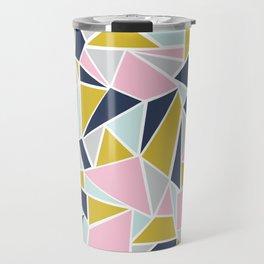 Colour Blocking Navy Pink Mustard Travel Mug