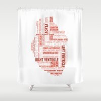 anatomical heart Shower Curtains featuring Anatomical Heart Typography by Compass Ink