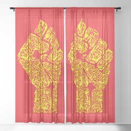 The Hand of Revolution Sheer Curtain