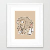 sasquatch Framed Art Prints featuring Sasquatch by rebecca miller