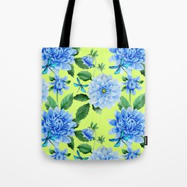 Modern blue lime punch watercolor dahlia floral pattern Tote Bag