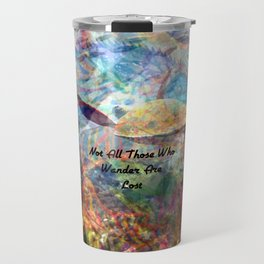 Not All Who Those Wander Are Lost Inspirational Quote With Beautiful Sea Turtle Painting Travel Mug