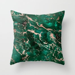 Modern rose gold marble green emerald watercolor pattern Throw Pillow