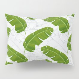 Banana Leaves_ Bg White Pillow Sham