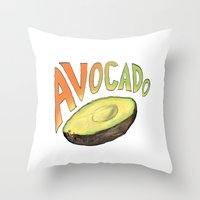 avocado Throw Pillows featuring Avocado by Ken Coleman