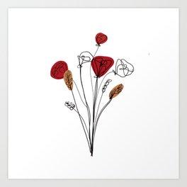 Poppy bouquet line art Art Print